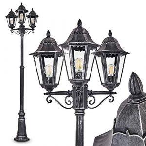Réverbère Lignac, lampadaire vintage en aluminium moulé noir/argenté et verre transparent, hauteur max. 245 cm, 3 lanternes pour ampoules E27 max. 100 Watt chacune, IP44, compatible LED (hofstein, neuf)