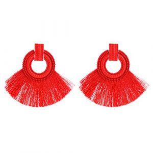 CAOLATOR Femme Boucles d'oreilles géométrique Boucle d'oreille en alliage Dangle gland Dangle Boucles d'oreilles longues Boucles d'oreilles Stud rouge (LILI DA, neuf)