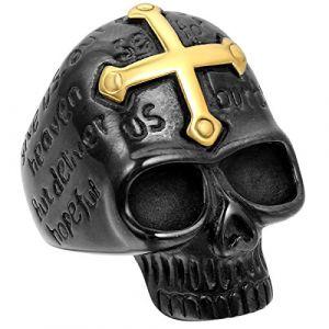 JewelryWe Bague Fantaisie Crâne Gothique Tête de Mort avec Croix Or en Acier Inoxydable Anneau pour Homme #10 Taille de Bague 62 (JewelryWe Bijoux, neuf)