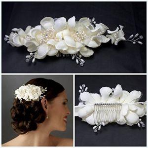 Miya® Mega Glamour peigne à cheveux fait à la main, avec fleurs en tulle Ivoire Blanc en dentelle, perle et cristal, mariage cérémonie mariée cheveux bijoux (miya beautycenter, neuf)