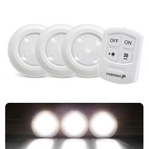 Fosmon Lampe de Placard Spot Adhésive sans Fil (3 Pack), Lampe à Led, Led Spot Autocollant 4000K Blanc avec Télécommande et Contrôle Tactile pour Cabinet Cuisine Couloir - Alimenté par Piles (theWireless USA, neuf)