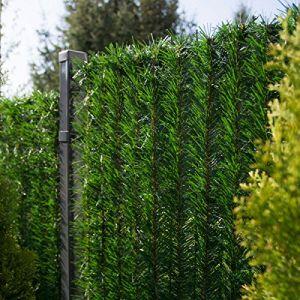 FairyTrees Revêtement de Clôture GreenFences, Couleur: Vert Fonce, Revêtement de Balcon Haie Artificielle Hauteur 180cm, 25m (Jumbo-Shop, neuf)