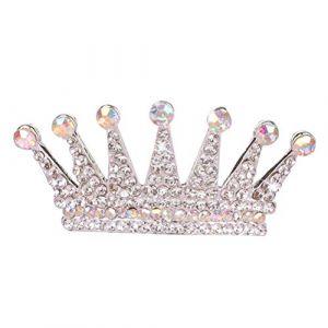 Frcolor Pleine Ronde Couronne Pageant Strass Perle Tiara Bandeau Accessoires De Cheveux pour le Mariage (Blanc) (Ansuen, neuf)