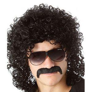 Perruque de déguisement années 70années 80pour homme, bouclée noire, coupe mulet (Juanxian, neuf)