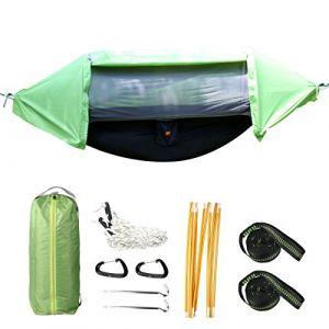 Hamac suspendu d'extérieur 3en 1 contre la pluie camping hamac abri avec filet anti moustique, tente bâche imperméable ensemble hamac vert portable (CocoTime, neuf)