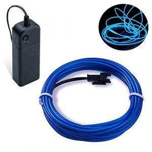 Guirlande Lumineuse LED, COVVY Neon Flexible Lumineux Décoration à piles pour Fête/Noël/Anniversaire/Soirée/Mariage, 3 Modes Éclairage avec télécommande, Imperméable Pour Intérieur (Bleu, 3M) (BLUEMANGO, neuf)