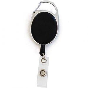 1 Porte badge enrouleur noir mousqueton rétractable avec clip attache ceinture - Avec yoyo et cordon de 62cm (1) (EXTIFF FRANCE, neuf)