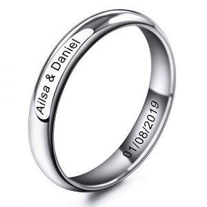 MeMeDIY 4mm Ton d'argent Acier Inoxydable Anneau Bague Bague Mariage Amour Taille 62 - Gravure personnalisée (MeMeDIY, neuf)