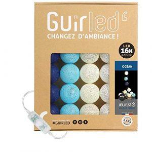Guirlande lumineuse boules coton LED USB - Veilleuse bébé 2h - Adaptateur secteur double USB 2A inclus - 3 intensités - 16 boules 3.2m - Océan (Lighting Arena, neuf)