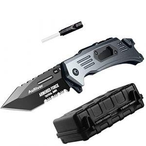 6-in-1 Couteau Pliant Extra Sharp avec Lame en Acier Inoxydable Titane placage, Couteau de Poche Tige de Aiguiseur | Sifflet | Ouvre-Bouteille | Tournevis | Briseur de Verre | Coupe Ceinture (BXooo, neuf)