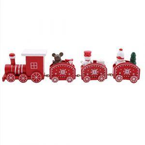 HJUEY Mini Train De Noël En Bois À Quatre Sections Petit Train Ornement De Noël Décoration De Fenêtre Enfants Enfants Train Jouet,Rouge (yichun yadaier, neuf)