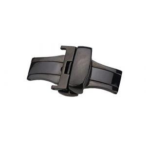 22mm Haut de Gamme Noir Boucle de Fermoir Papillon avec Double Boutons pour Bracelet Bracelet Bracelet en Acier Inoxydable (Autulet Europe, neuf)