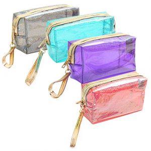4 Pièces Clair PVC Trousse de Toilette à Fermeture à Glissière Imperméable Trousse de Maquillage trousse de toilette transparente (TonJin, neuf)