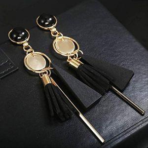 Bijoux pour femmespersonnalité triangle géométrique boucles d'oreilles en bois rétro femme gland longues femmes boucles d'oreilles bijouxnoir (Graceguoer, neuf)
