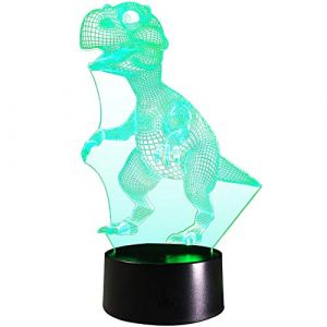 FARS 3D LED lampe de nuit, Colorful Dinosaure Forme Magical Illusion 3D Lampe, Chambre Décoration Meilleur cadeau, Touch Control Lumière 7 couleurs changent USB Powered Lampes de bureau (FARS, neuf)