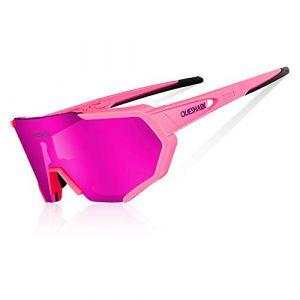 Queshark Lunettes de Soleil Polarisées avec 3 lentilles interchangeables pour Conduire des Lunettes de Cyclisme à la Course de Cyclisme en Cyclisme (Rose) (QUESHARK SPORTS, neuf)