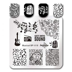 Manucure Nail Plaques Note De Musique Design Image Nail Art Estampage Plaque Manucure Tampon Modèle Gabarit Pochoir Diy Nail Art Décorations Outil (wangzubang, neuf)