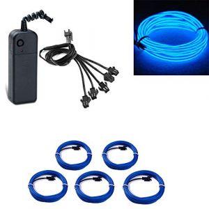 Fil électroluminescent alimenté de lumière de fil EL Wire avec 3 modes flexible électroluminescent stroboscopique flexible pour mariage Pub Décoration de fête de Noël (5x1meter)(Bleu) (San Jison, neuf)