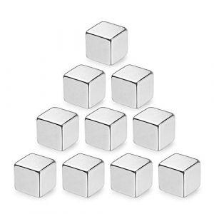 10pièces cube aimants cubiques en néodyme extra-fort,magnet pour frigo tableaux magnétiques en verre tableau board d'affichage du réfrigérateur mémo professeur d'école bureau | Argent XL (10x10x10 mm) (linjinde, neuf)