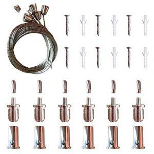 AAPLUS- 6X Universel Câbles Kit pour Montage en Suspension de Panneau Dalle LED 30x30/30x60/60x60/62x62/120x30cm(Acier inox + Cuivre + ABS) (OeeOne, neuf)