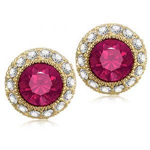 Kowentik Boucles doreilles femmes diamant (Rouge) (Kowentik, neuf)