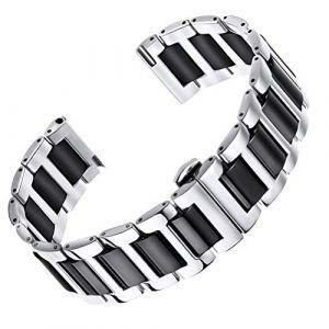 AUTULET de Bande de Montre Bracelet de Lien en céramique de 20 mm homm ES en Argent et noiren Acier Inoxydable 316L (Autulet Europe, neuf)