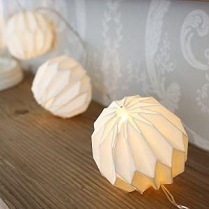 Guirlande lumineuse, 10Papier Lampion, papier, LED, Éclairage Chaîne pour intérieur et extérieur, blanc, avec batterie (DECORPRO, neuf)