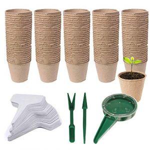 Woohome 153 PCS Pots Biodégradables, 100 PCS Pot de Semis en Fibre Biodégradable de 6 cm, Etiquettes Blanches en Plastique, Outil de Sol Meuble pour Plantes de Jardin Marron (Wodmer-EU, neuf)