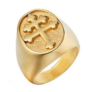 BOBIJOO Jewelry - Bague Chevalière Homme Croix de Lorraine Patriarcale Acier Inoxydable Plaqué Or - 66 (11 US), Doré Or Fin - Acier Inoxydable 316 (ANGELYK, neuf)