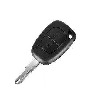 PHONILLICO Coque cle Renault Kangoo Master Trafic - Plip clé télécommande 2 Boutons Lame Trou Modèle avec Emplacement Pile (Phonillico, neuf)