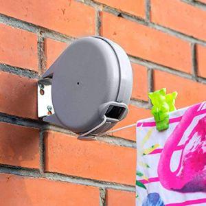 Tatkraft Long | Corde à linge rétractable de 12 m pour vêtements | Étendoir à linge très robuste et résistant | Mécanisme rétractable automatique | Installation facile sur murs | Séchoir de jardin (Tatkraft, neuf)