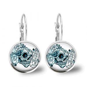 2 paires cool créatif boucles d'oreilles tête de mort unisexe boucle cerceau boucle d'oreille oreille goutte bijoux oreille manchette clip d'oreille haute poli alliage cerceaux pour hommes femmes (TYUEQ, neuf)
