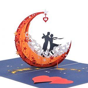 Carte amoureux,Carte St Valentin,Carte amour, Pop-up carte ?d-danser dans la lune,Carte cadeau,Invitation mariage,Carte enveloppe (OmShanti, neuf)