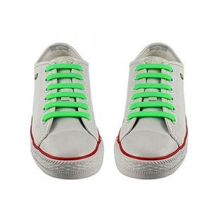 WELKOO® Lacets Elastique en Silicone Nouveau modèle Sans Lacage Etanche pour Chaussure Adultes & Enfants -12pcs Couleur Vert,Couleur Divers Disponibles. (Welkoo, neuf)