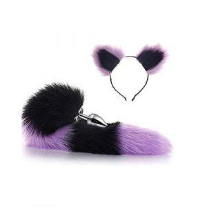 Serre-tête en fausse queue de renard et oreilles de chat Noir/violet 3 tailles (Pavian, neuf)