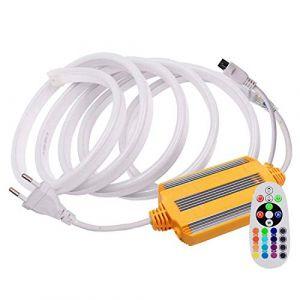 VAWAR 10m Ruban de néon, RGB - 16 couleurs au choix, bande lumineuse dimmable avec transformateur et 24 boutons télécommande, 5050 SMD 60 LEDs/m, flexible, 220V 230V strip, étanche IP65 (VAWAR, neuf)