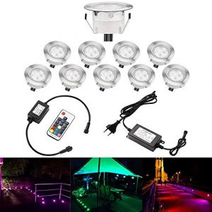QACA Lot de 10 Spots LED Encastrable,Mini Spots Encastré pour Escaliers Pont,Jardin, Patio, Spots Luminaires LED Decoration Eclairage Sécuritaire DC 12V Etanche IP67 (Pack 10, RGB) (SCQACA, neuf)