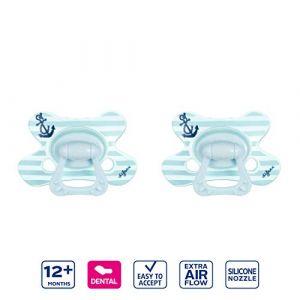 Difrax Dental Sucette 12-18 Mois, Lot de 2 Sucettes avec Tétine Silicone, Facilement À Accepter, un Apport Optimal d'Air, Confortable - Bleu Marine (Difrax, neuf)