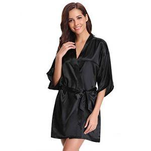 a53cdfdbe9452 Aibrou peignoir long satin pyjama femme sexy ensemble chemise de nuit  peignoir nuisette kimono japonais déshabillé