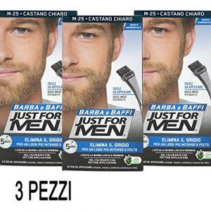 Just for Men Lot de 3 colorations permanentes, teinture, gel colorant pour barbe et moustaches avec pinceau, châtain clair, sans ammoniaque, M 25; 2 x 14 ml (CorpoeCapelli, neuf)