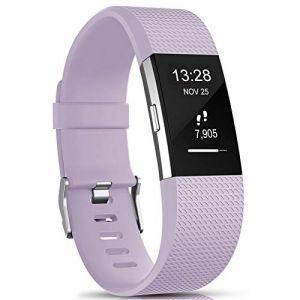 """Gogoings Bracelet pour Fitbit Charge 2 - Bracelet Silicone Bande de Rechange Réglable Souple Sport Compatible avec Fitbit Charge2 pour Femme & Homme (sans Montre) (Lavande, Large: 6.7""""- 8.1"""") (CHENZHILIN, neuf)"""