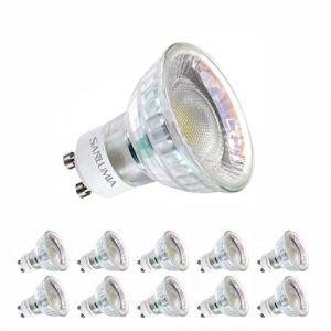 Sanlumia | 6W LED Spot Culot GU10 | 500LM | équivaut 75W halogène | Blanc Chaud 3000K | 110° Larges Angle de Faisceau | LED Light Lampe | Finition Verre | Lot de 10 Ampoules (Sanlumia, neuf)