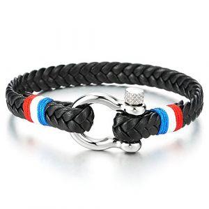 COOLSTEELANDBEYOND Bracelet Vis Manilles d'ancrage - Homme Femme Noir Tressé Cuir avec Rouge Blanc Bleu Cordon Coton - Nautique Marin (iMECTALII EU, neuf)