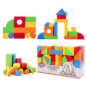 deAO Blocs de Jeu de Construction en Caoutchouc et Mousse - Jouet d'apprentissage Créatif pour Les Enfants - Ensemble de Cubes Multicolores 131 Pièces (deAO, neuf)
