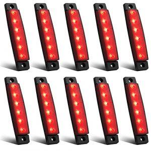 Feux de Gabarit LED Feux Latéraux Eclairage,LED Côté Marqueur Feux Indicateurs De Position Rouge 24V Étanche LED Feux de côté pour Camion Remorque Camion Bus Bateau (YuanGu, neuf)