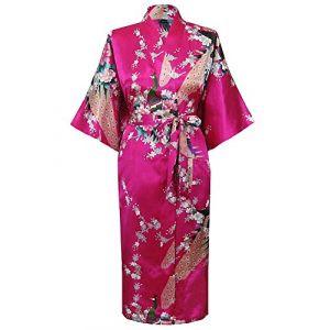 Cityoung-Kimono Japonais en Satin Sexy Robe de Chambre Peignoir-Femme (Rose,XXXL) (westkun, neuf)