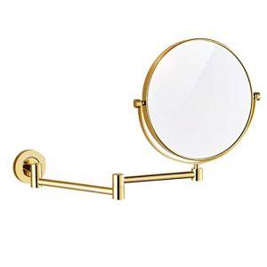 JXQ Miroir HD pour salle de bains Toilette de salle de bains Applique murale télescopique pliable en forme de loupe double face, 2 couleurs (Color : Gold) (Dream Fly EU, neuf)