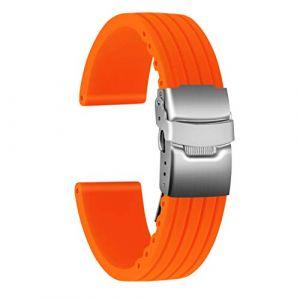 Ullchro Bracelet Montre Haute Qualité Remplacer Silicone Bracelet Montre Stripe Pattern - 16mm, 18mm, 20mm, 22mm, 24mm Caoutchouc Montre Bracelet avec Boucle Déployante Acier inoxydable (16mm, orange) (Ullchro-EU, neuf)
