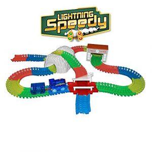 LIGHTNING SPEEDY Blue la Loco, Train Lumineux avec Rails Flexibles, modulables et Plein d'accessoires - Bleu (TasPasMieux, neuf)