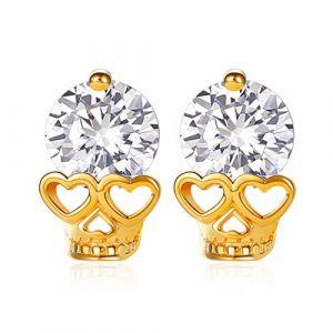 ChicSilver Boucles d'Oreilles pour Femme Clou d'Oreille Tête de Mort Râne Squelette en Argent Massif 925Or 18K Bijoux Style Punk Cadeau Parfait pour Femme Fille (KACY-EU, neuf)